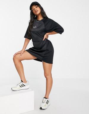 Черное платье-футболка с логотипом adidas Originals Bellista-Черный