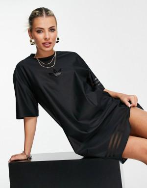 Черное платье-футболка с логотипом и сетчатыми полосками adidas Originals Bellista-Черный цвет