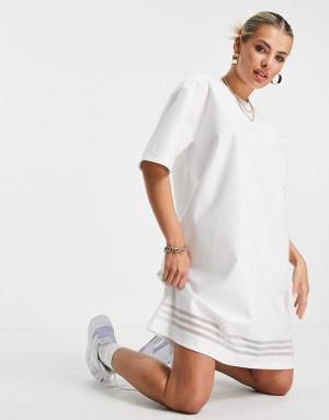 Белое платье-футболка с логотипом и сетчатыми полосками adidas Originals Bellista-Белый